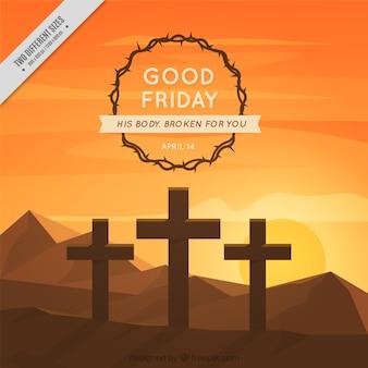 Fondo de viernes santo con corazo de espinas y cruces al atardecer