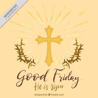 Fondo de viernes santo con espinas y cruz pintadas a mano