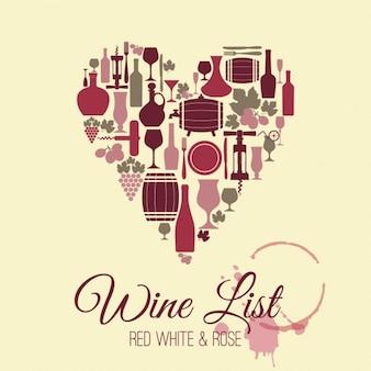 Fondo de vino con forma de corazón