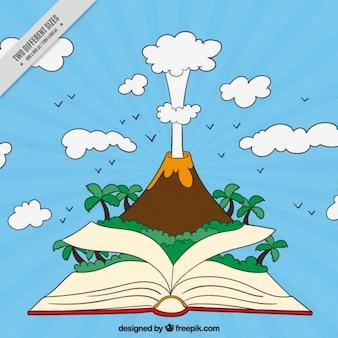 Fondo de volcán saliendo de un libro