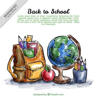 Fondo de vuelta al colegio con materiales de acuarela