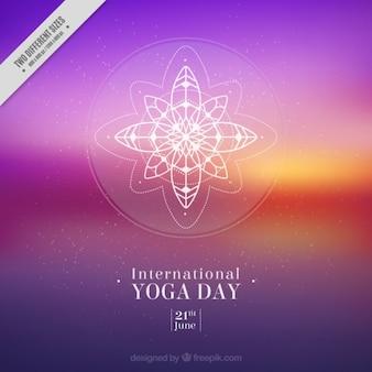 Fondo de yoga de atardecer borroso