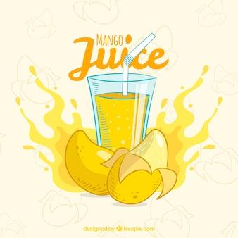 Fondo de zumo de mango dibujado a mano
