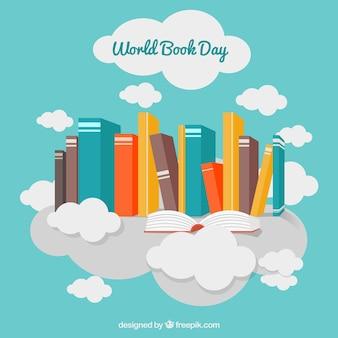Fondo decorativo con libros de colores y nubes