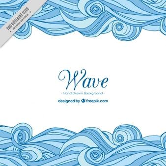 Fondo decorativo con olas azules dibujadas a mano