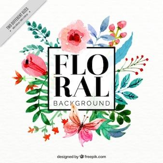 Fondo decorativo de flores de acuarela