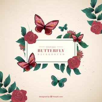 Fondo decorativo de mariposas y rosas