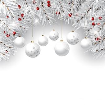 Fondo decorativo de navidad con ramas de pino y bolas colgantes