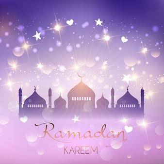 Fondo decorativo morado ramadán con las estrellas y las luces del bokeh