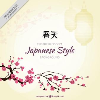 Fondo del árbol de cerezo en el estilo japonés