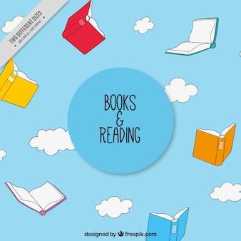 Fondo del cielo con libros dibujados a mano