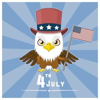 Fondo del cuatro de julio con águila