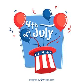 Fondo del cuatro de julio con globos