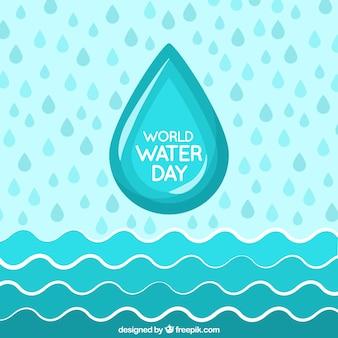 Fondo del día de agua con olas y gotas