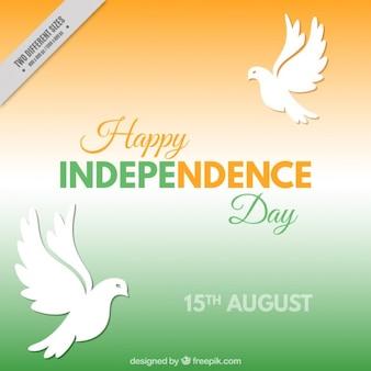 Fondo del día de independencia india con palomas