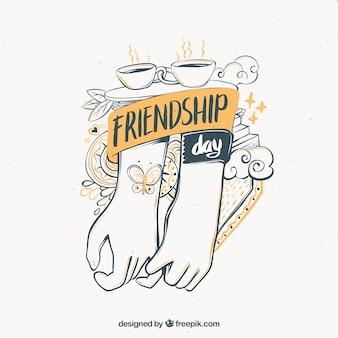 Fondo del día de la amistad con ilustración de manos