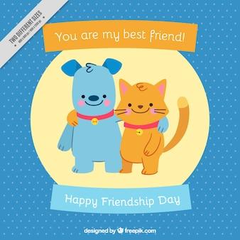 Fondo del día de la amistad de simpáticas mascotas