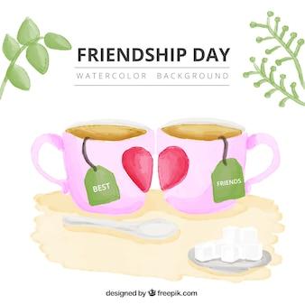 Fondo del día de la amistas de tazas de té de acuarela