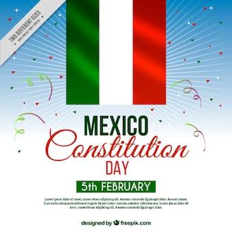 Fondo del día de la constitución de méxico con bandera