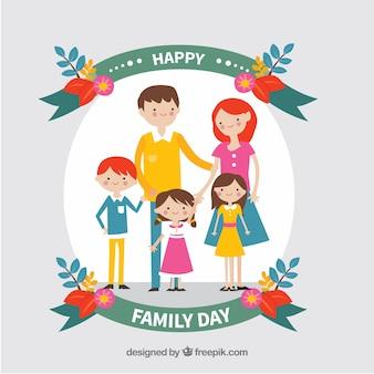 Fondo del día de la familia feliz dibujado a mano