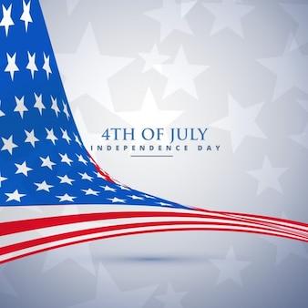 Fondo del día de la independencia americana con bandera ondeante