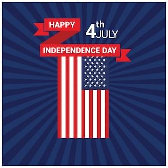 Fondo del día de la independencia americana con rayos de sol azul