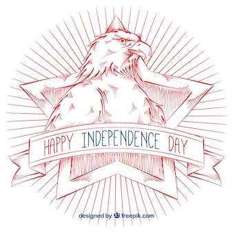 Fondo del día de la independencia con águila dibujada a mano