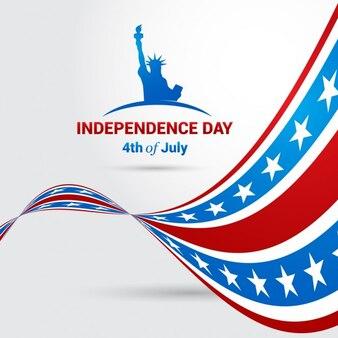 Fondo del día de la independencia con bandera ondeante
