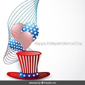 Fondo del día de la independencia con el sombrero y los globos
