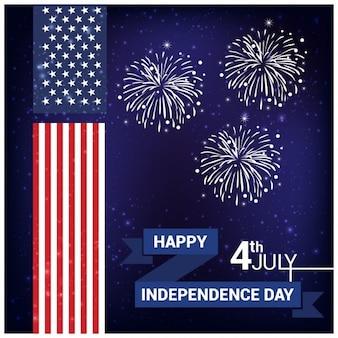 Fondo del día de la independencia con fuegos artificiales