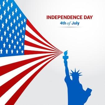 Fondo del día de la independencia con silueta de la estatua de la libertad