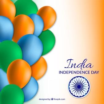 Fondo del día de la independencia de india con globos