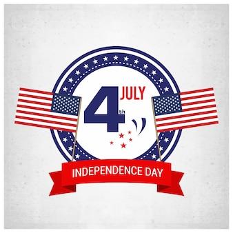 Fondo del día de la independencia e insignia con la bandera de los eeuu
