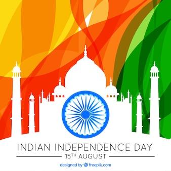 Fondo del día de la independencia india con silueta de taj mahal