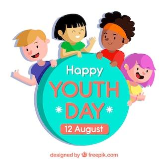 Fondo del día de la juventud con simpáticos niños