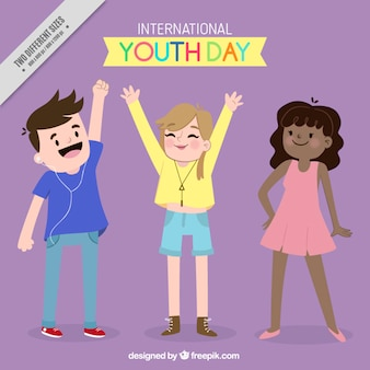 Fondo del día de la juventud de amigos dibujados a mano