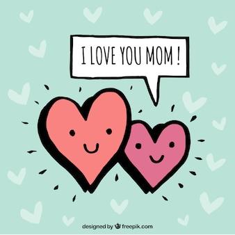 Fondo del día de la madre con dos corazones sonrientes