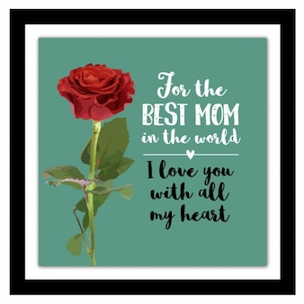 Fondo del día de la madre con una rosa en acuarela