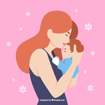 Fondo del día de la madre de mujer adorable con su hijo
