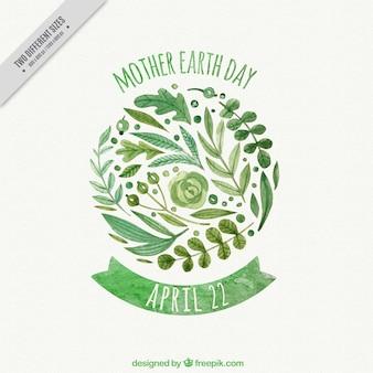 Fondo del día de la madre tierra de acuarela con vegetación decorativa