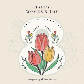 Fondo del día de la mano de la mujer dibujada tulipanes