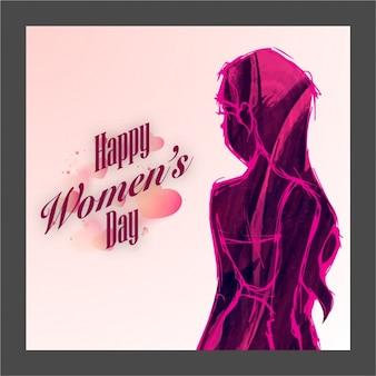 Fondo del día de la mujer con mujer dibujada a mano en tonos morados