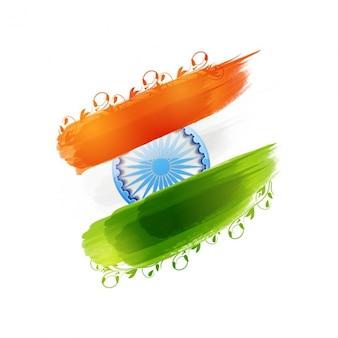 Fondo del día de la república india con bandera y decoración floral