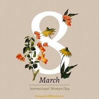 Fondo del día de las mujeres de flores realistas bonitas