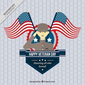 Fondo del día de los veteranos con un orgulloso soldado