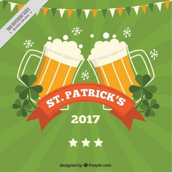 Fondo del día de san patricio verde con cervezas y guirnalda