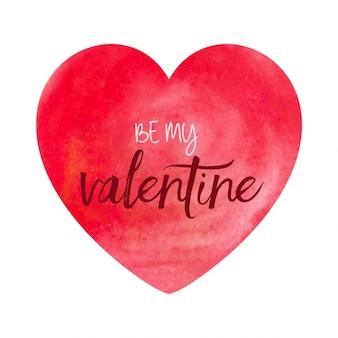 Fondo del día de San Valentín con el corazón de acuarela
