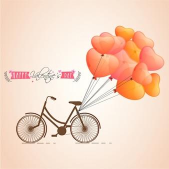 Fondo del día de san valentín de bicicleta con globos