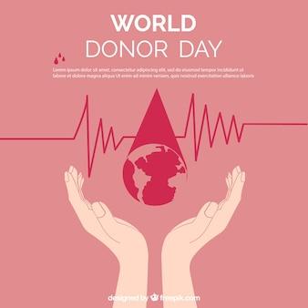 Fondo del día del donante con manos