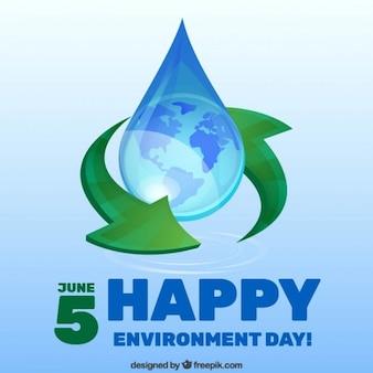 Fondo del día del medio ambiente de gota de agua